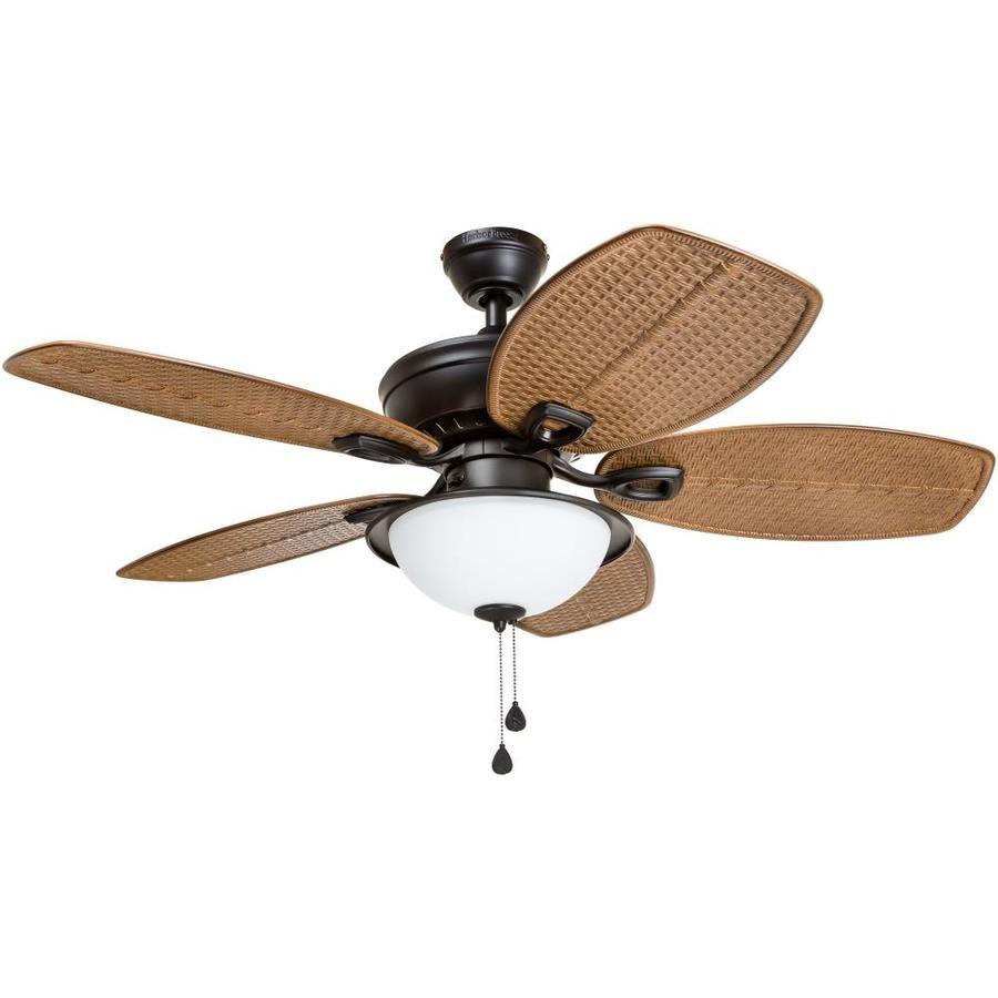 Harbor Breeze Cedar Shoals 44 In Oil Rubbed Bronze Indoor Outdoor Ceiling Fan With Light Kit Ceiling Fan With Light Fan Light Outdoor Ceiling Fans