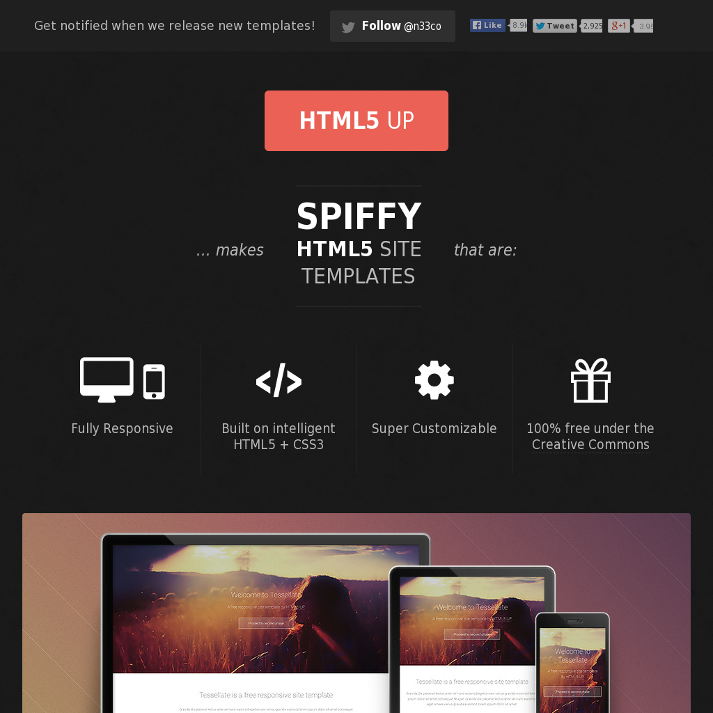 HTML5Up Free Responsive HTML5 and CSS3 site templates
