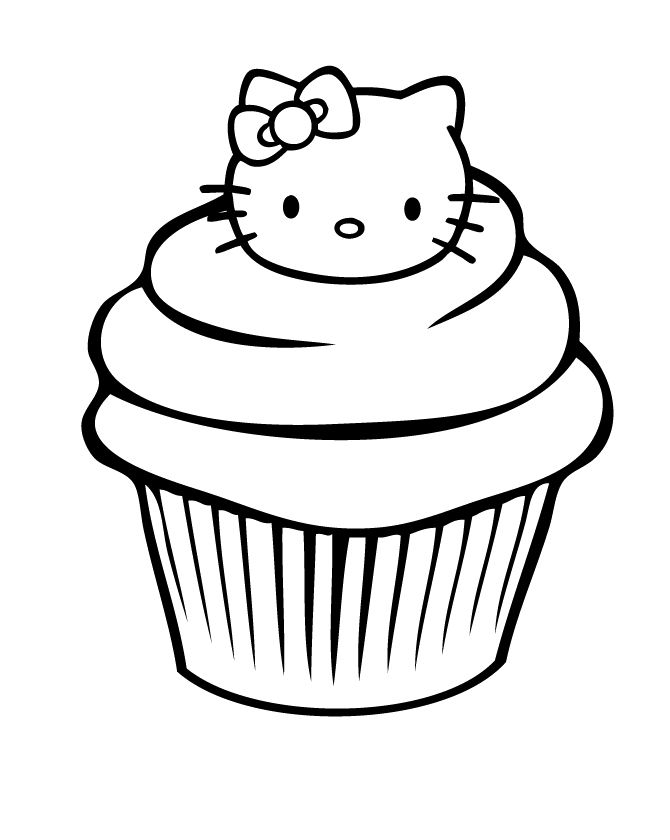 The Cupcake Is Garnished With A Head In The Hello Kitty Coloring