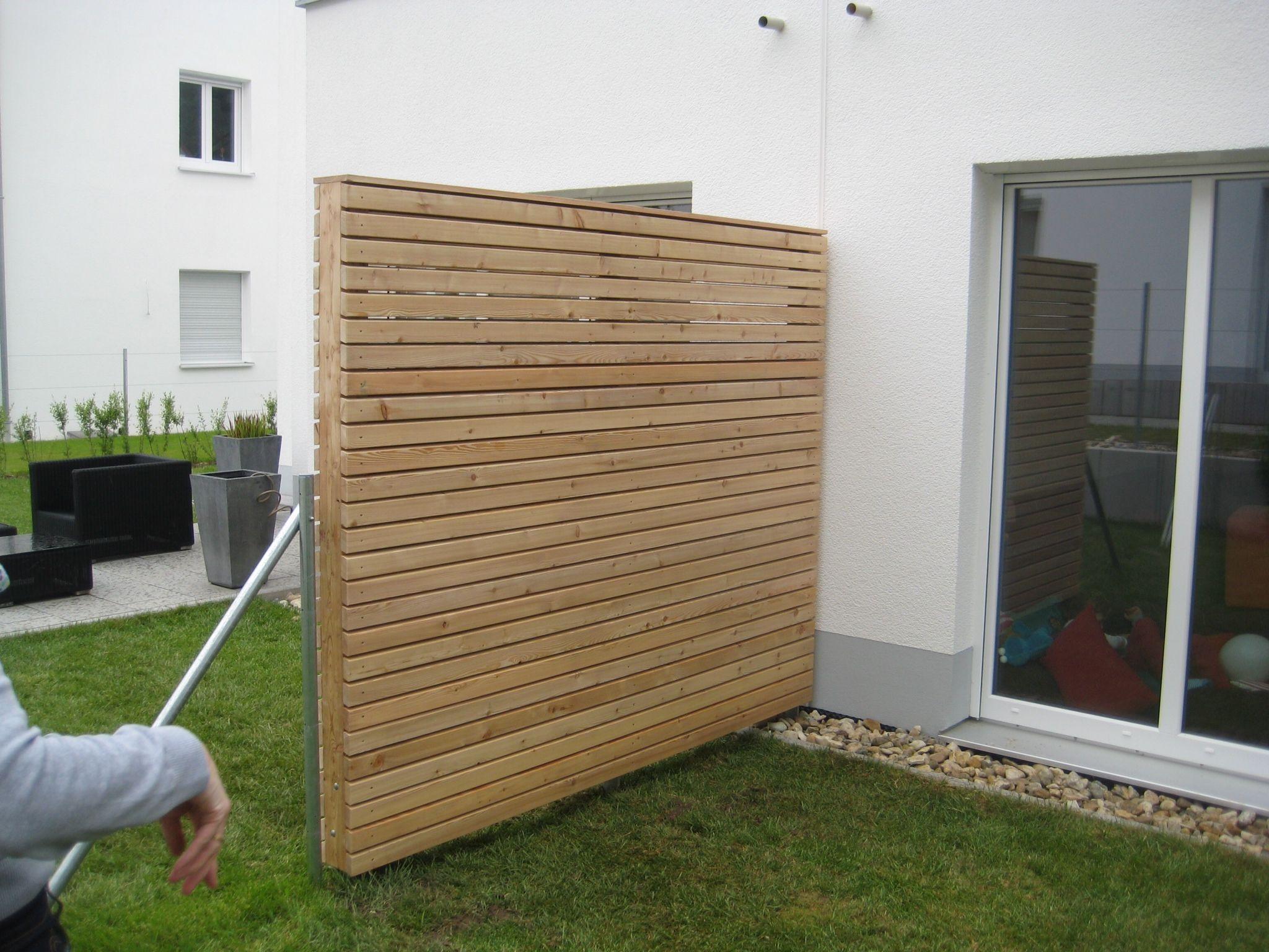 sichtschutz aus l rchenholz terrasse pinterest. Black Bedroom Furniture Sets. Home Design Ideas