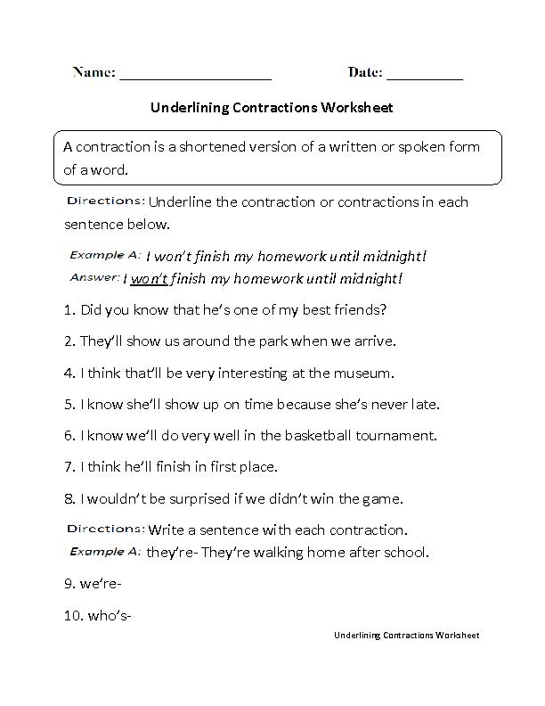 Underlining Contractions Worksheet Worksheets Pinterest Worksheets