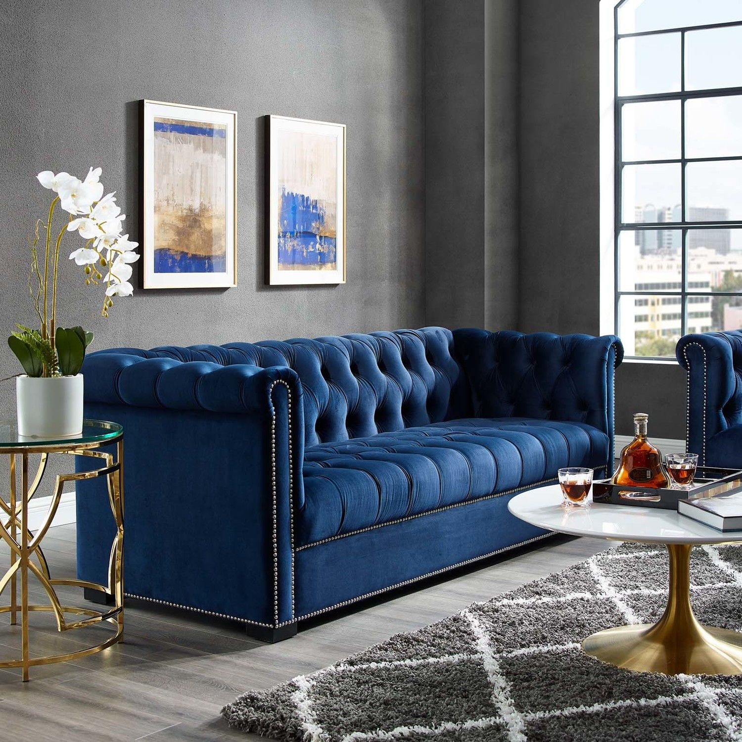Heritage Midnight Blue Sofa Eei 3064 Mid Modway Furniture Fabric Sofas In 2021 Blue Sofa Living Blue Living Room Decor Blue Sofas Living Room