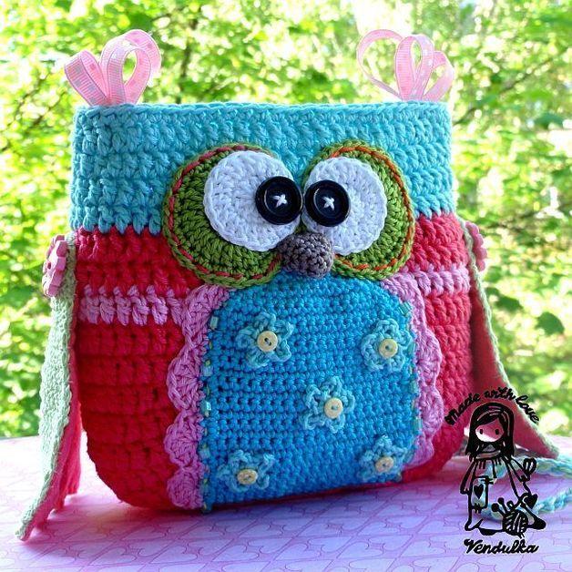 Crochet owl purse - pattern/ e-book | Gehäkelte taschen, Häkeln und ...