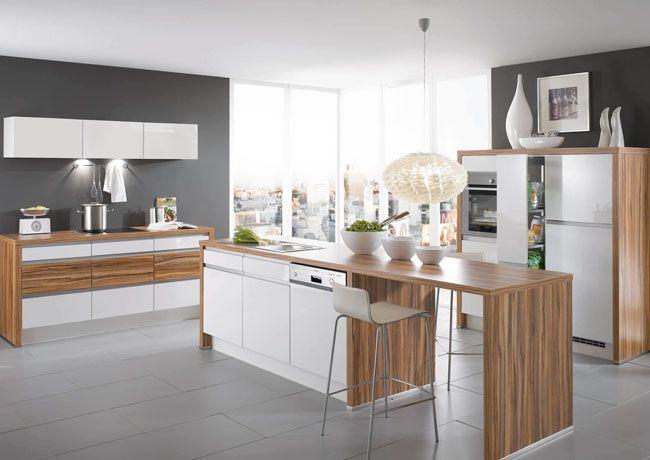 Light Walnut Worktop And White Gloss Kitchen