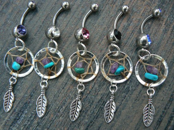 amethyst  and turquoise beaded  dreamcatcher belly ring turquoise and amethyst in  tribal boho belly dancer and hipster style