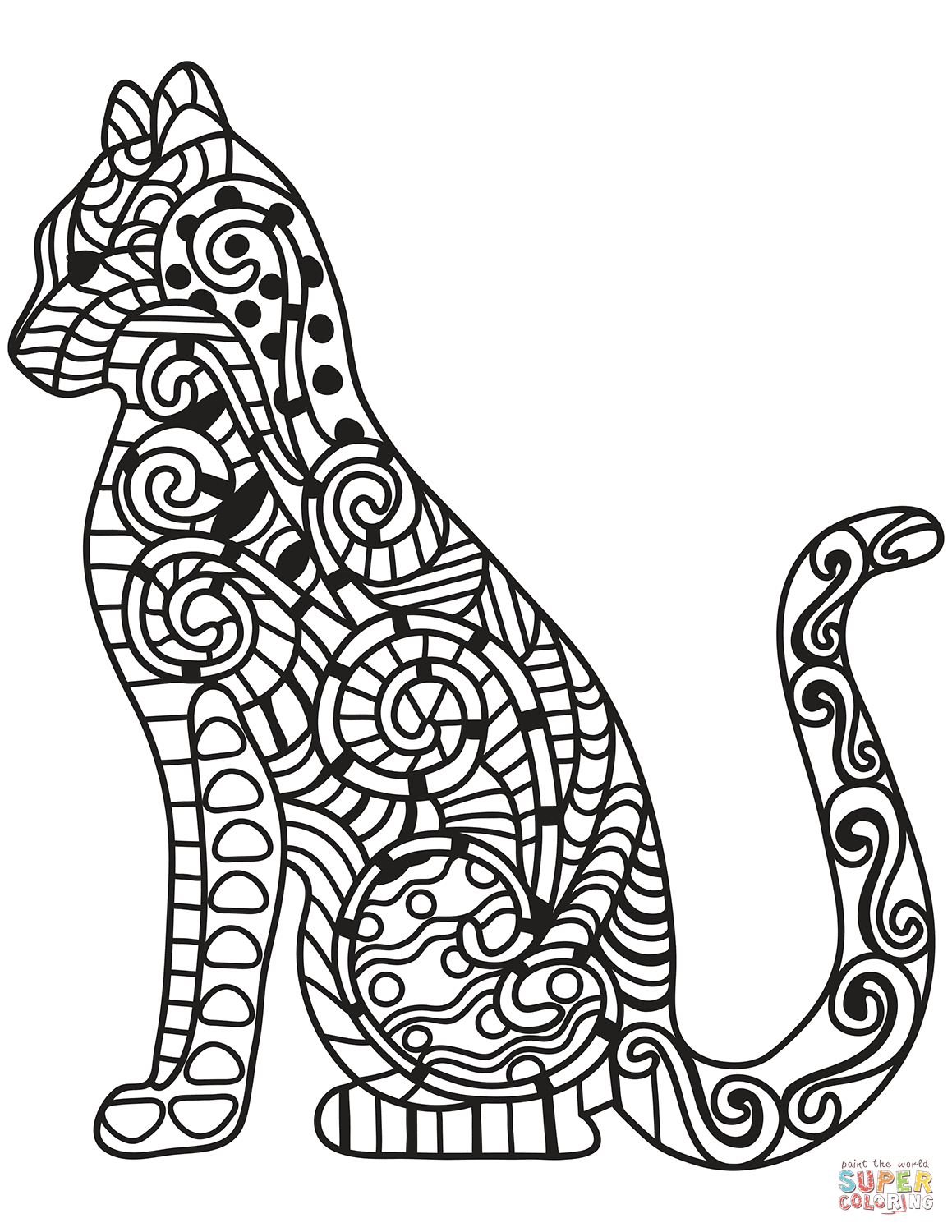 photo relating to Free Printable Zentangles titled Zentangle Cat coloring website page No cost Printable Coloring Web pages