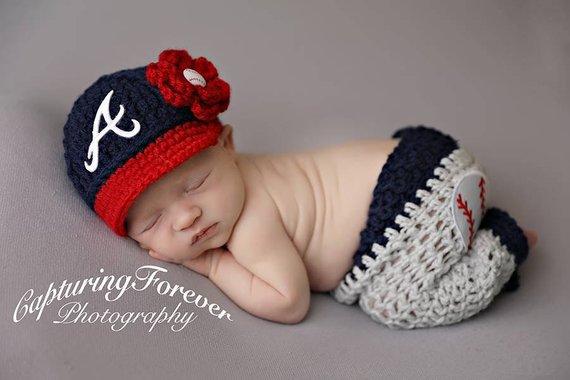 32b5c5554 Newborn Atlanta Braves Outfit Uniform Set, Hat, Cap, Pants, Boy or ...