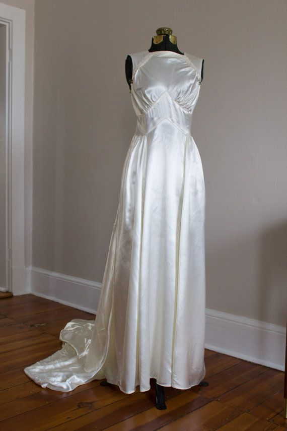 Vintage Satin Art Deco Gown with Beaded by VivianEliseVintage, $215.00