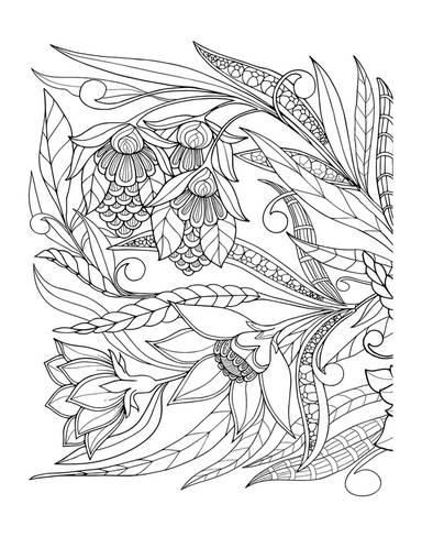 Flowers Leafs Design Coloring Art Coloring Poster Art Com Coloring Posters Flower Drawing Design Colorful Art