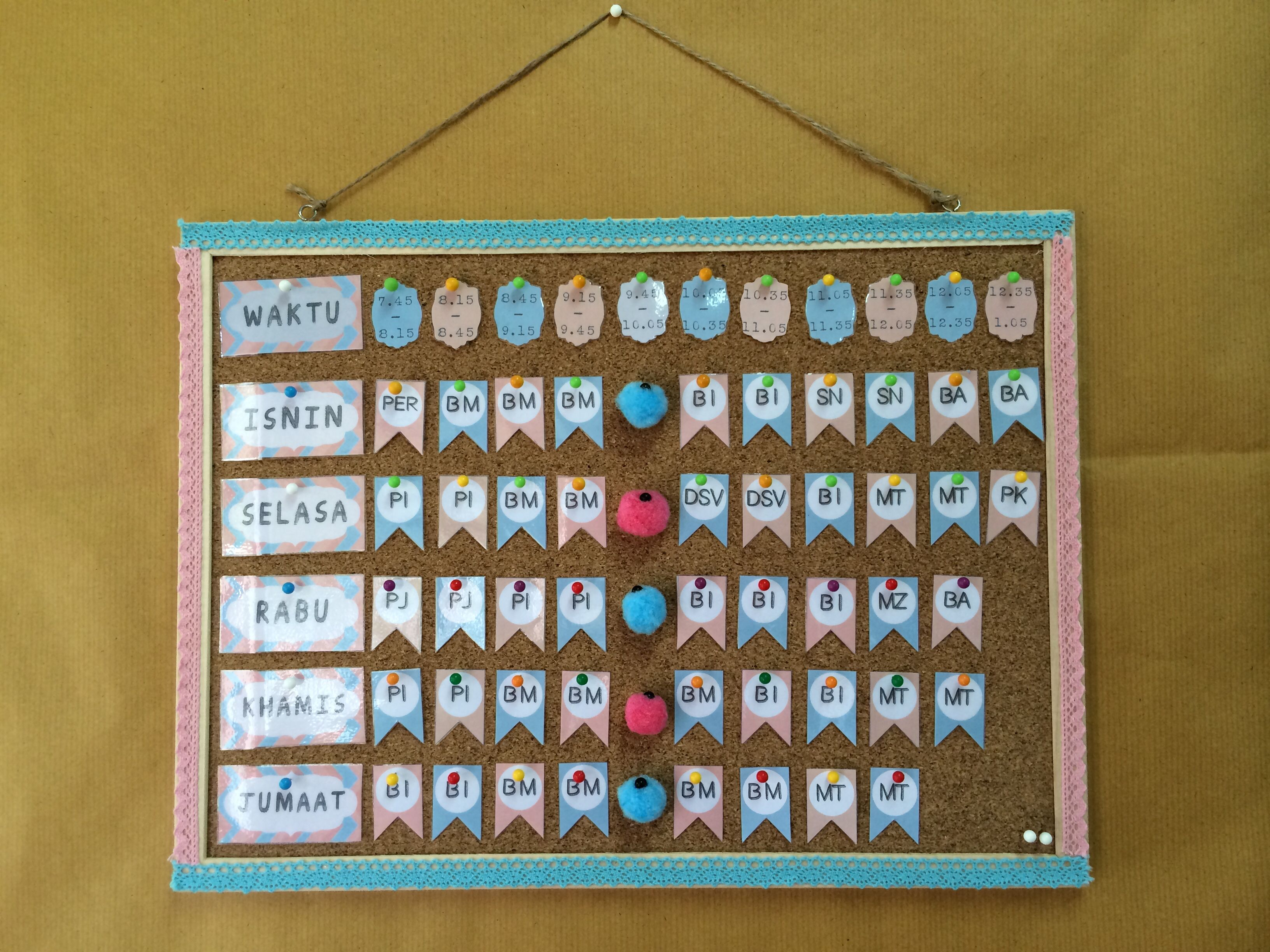 Timetable For My Standard 1 Class Classroom Decoration