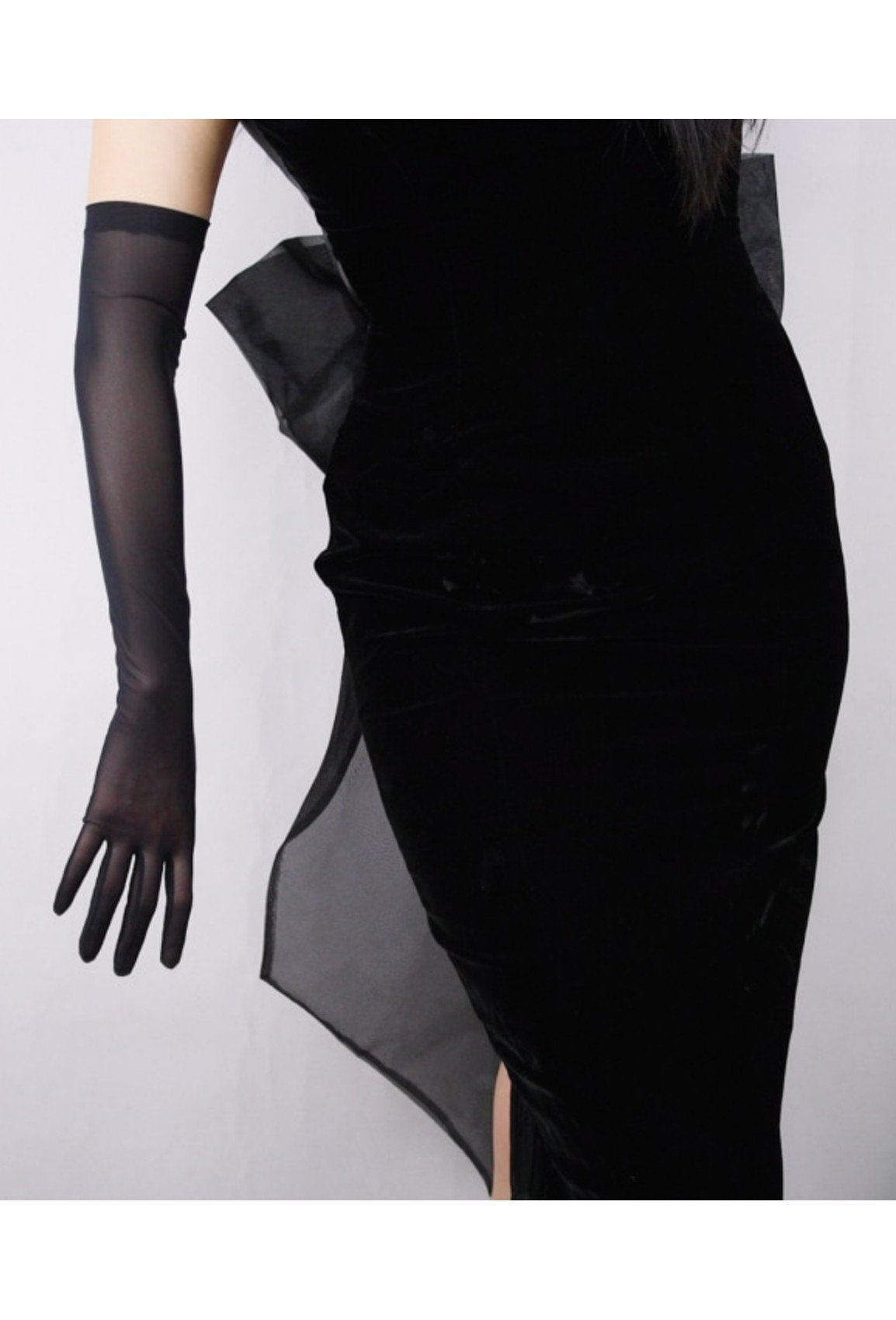 Vintage Style Satin Long Opera Mesh Evening Glove Ebony Black Long Gloves Lace Gloves Evening Gloves [ 1699 x 1154 Pixel ]