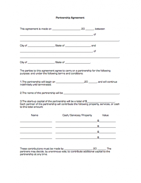 Printable Sample Partnership Agreement Form – Business Partnership Contract Sample