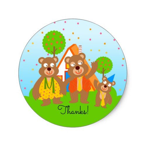 Wild bear boy first birthday party classic round sticker