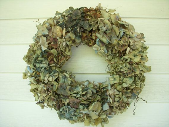 victorian hydrangea wreath decorated with dried blue hydrangeas and