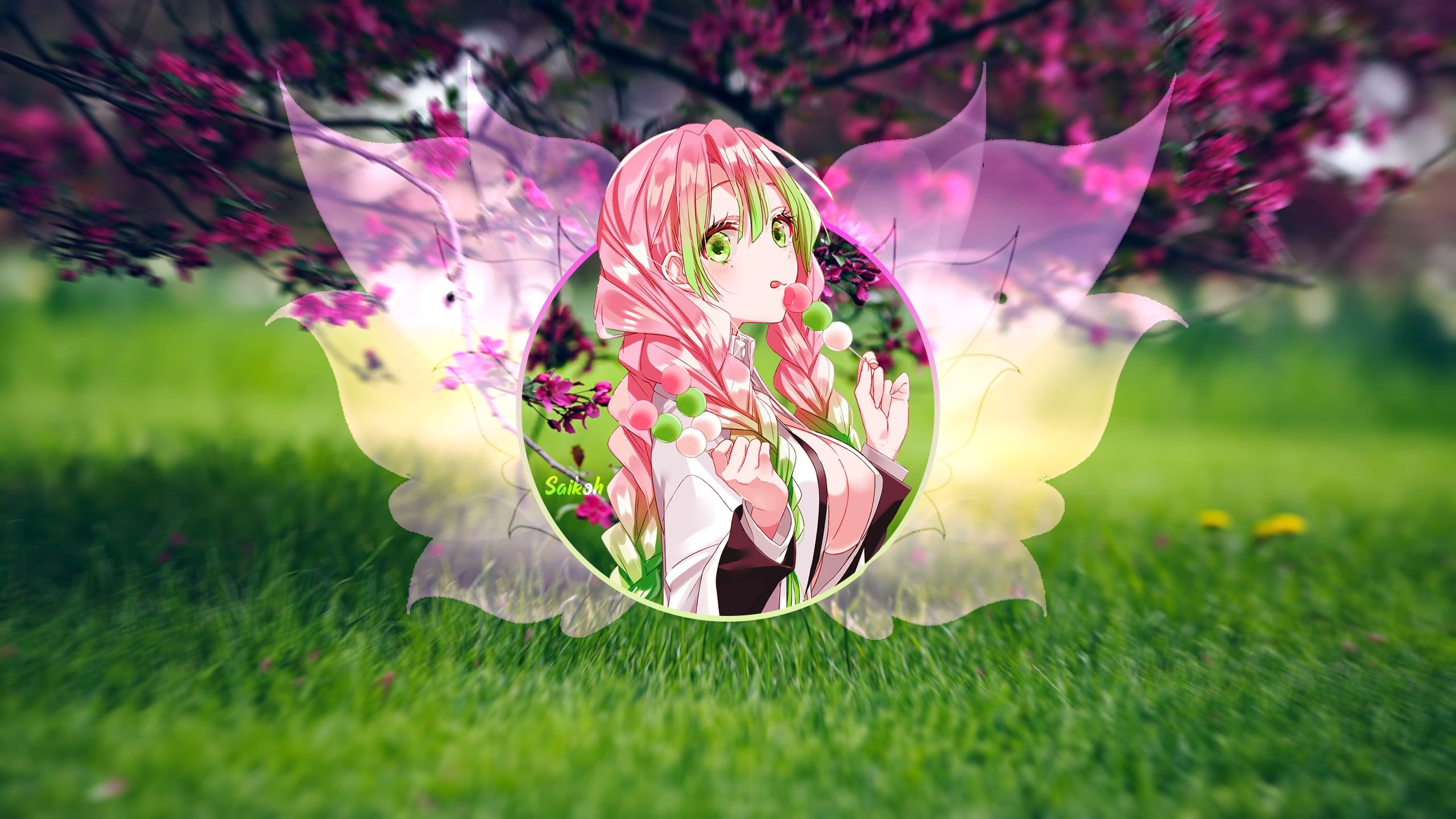 Pin On Computer Backgrounds Once again, the colors on mitsuri is always fantastic, the pink and lime green complimenting each other amazingly. pinterest
