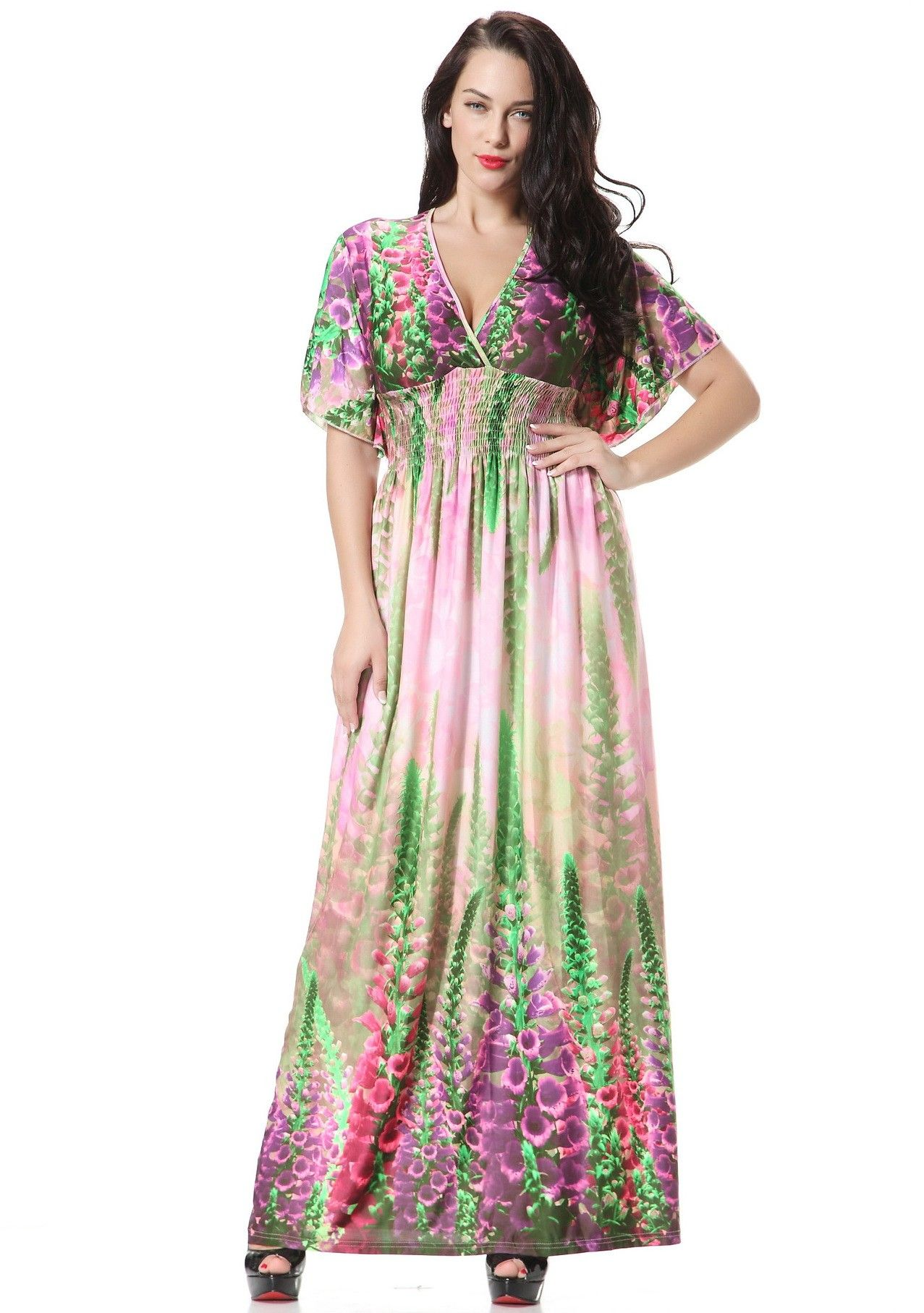 Plus size green floral print ice silk boho beach summer dress