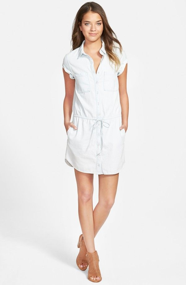 Paige Denim Mila Shirtdress In Icy Blue