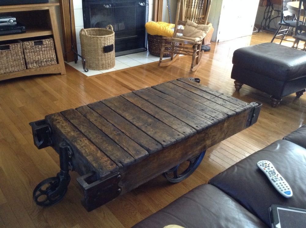 ANTIQUE INDUSTRIAL RAILROAD FACTORY CART VTG COFFEE TABLE WITH CAST IRON  WHEELS