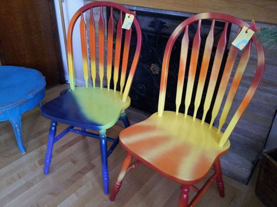 Delicieux Hand Painted OOAK Pair 2 Wood Rainbow Sunshine Chairs U0027PEACE To Youu0027 U0026