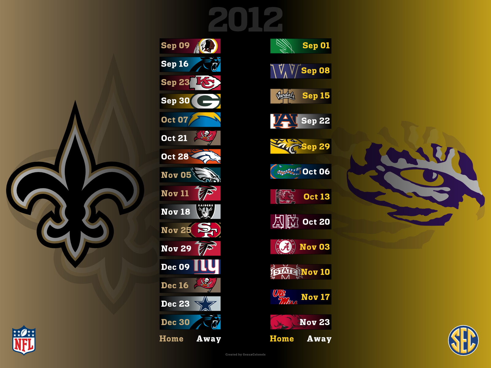 Saints 2012 / LSU 2012 Desktop Wallpaper Saints football