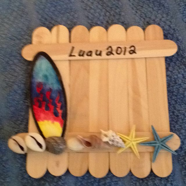 Jumbo craft stick photo frame an easy craft idea that all for Surfboard craft for kids