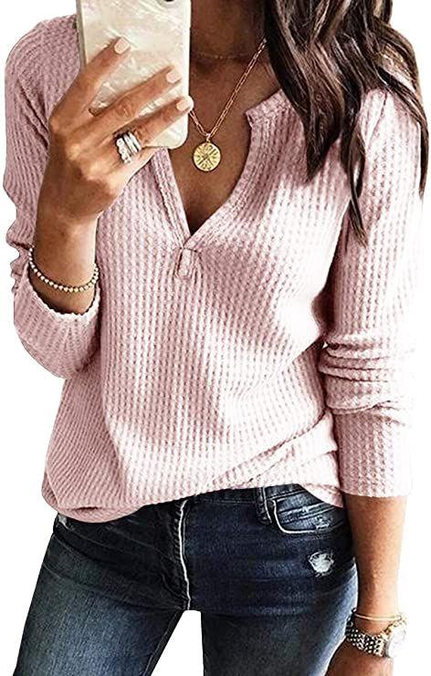 Womens V Neck Long Sleeve Waffle Knit Loose Fittin