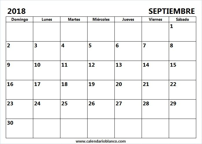 Calendario en Blanco Septiembre 2018 | cd | Pinterest | Calendario