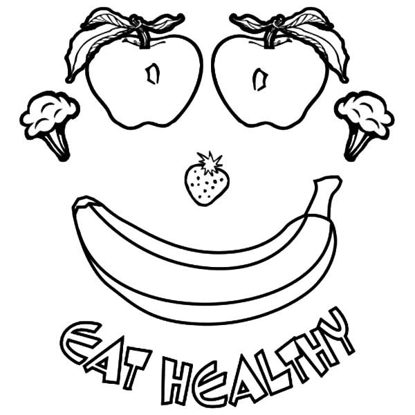 healthy food coloring pages | Eating Healthy Foods Coloring Pages for Kids: Eating ...