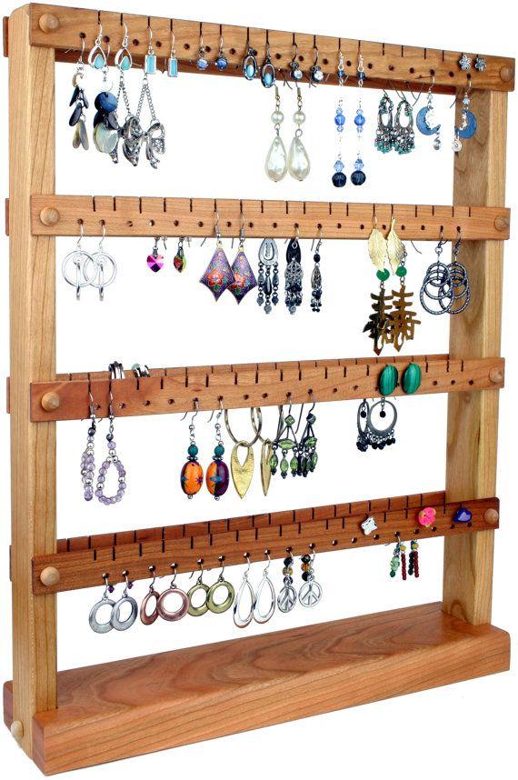 Jewelry Organizer Stand Jewelry Stand Cherry Wood DoubleSided