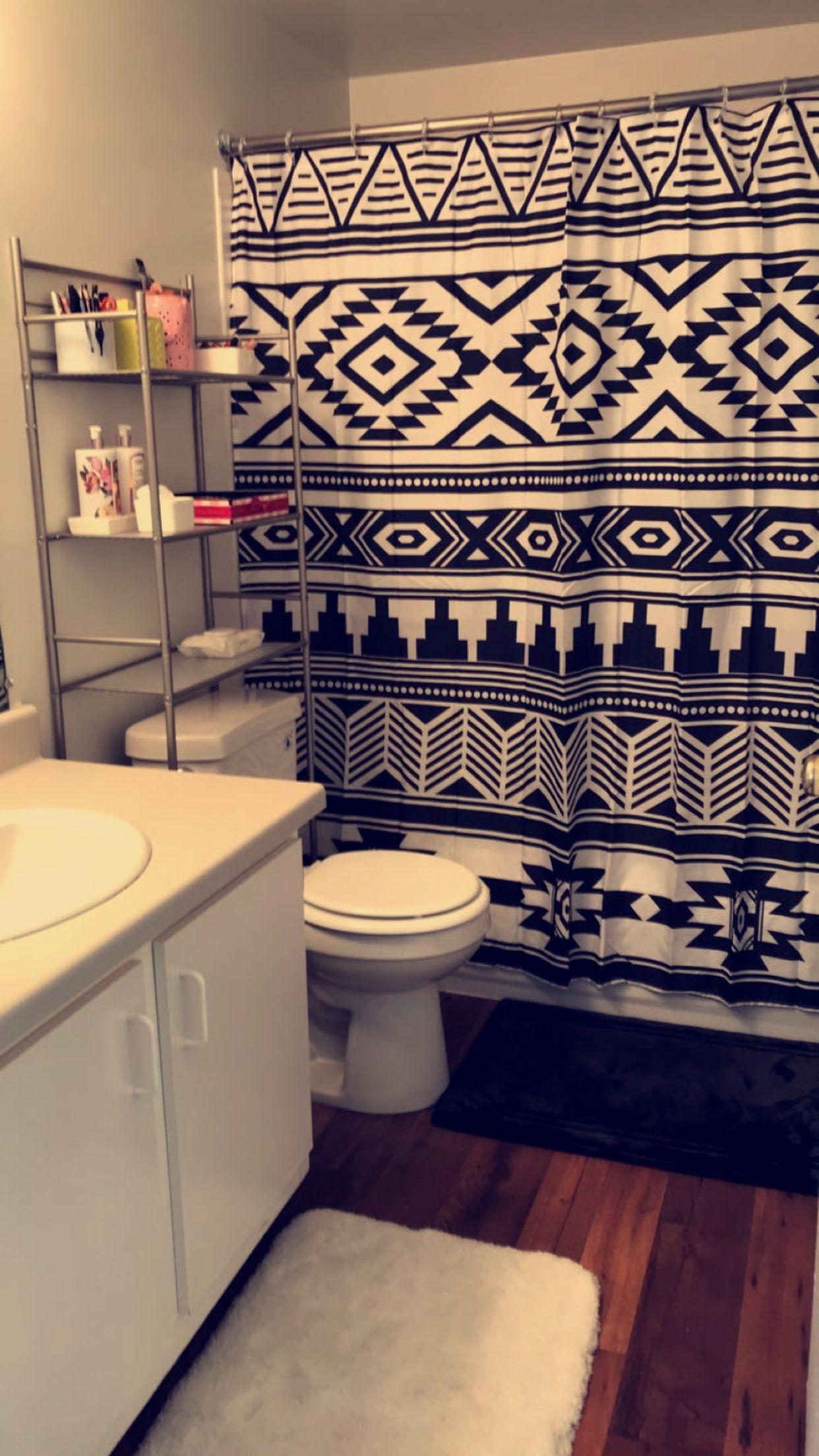Tribal Shower Curtain Black White Bathroom Ideas Wal Mart 8