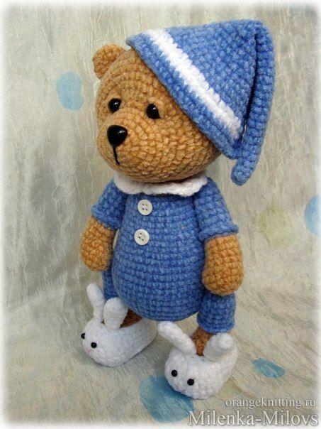 Diesen niedlichen Bär im Pyjama häkeln. Anleitung Kostenlos Russisch ...