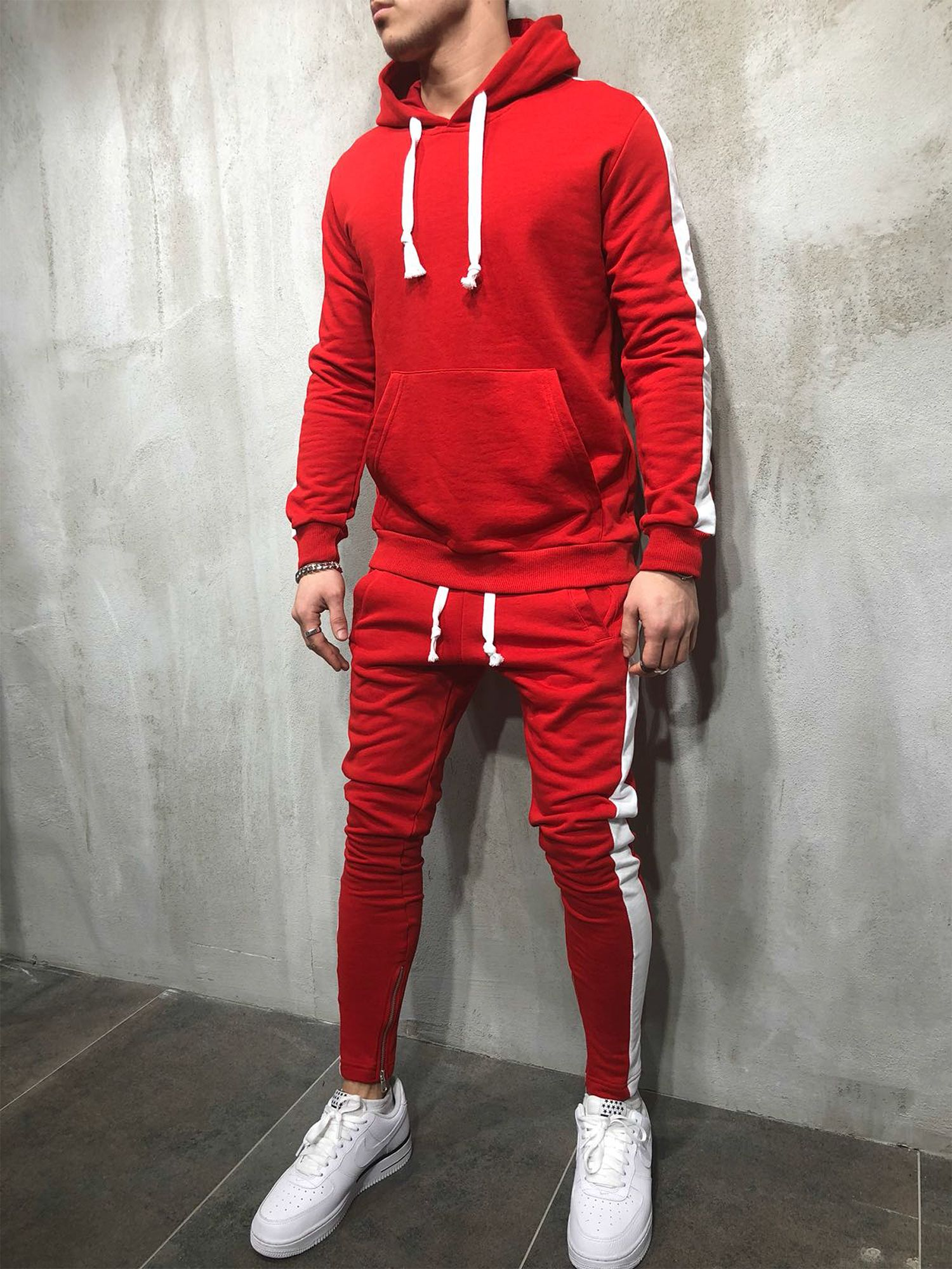 Men's Streetwear Red Tracksuit with White Stripes