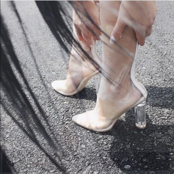 Trendy transparent heels Very cute, very chic transparent heels never worn! Not nasty gal Nasty Gal Shoes
