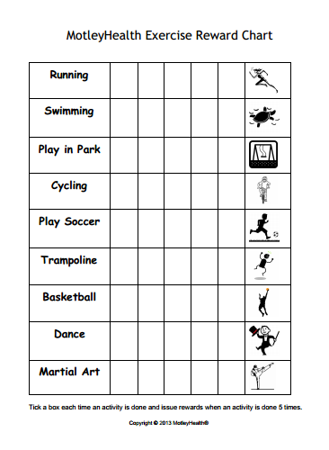 Kids Exercise Reward Chart - Motivate Kids To Get Active -4751