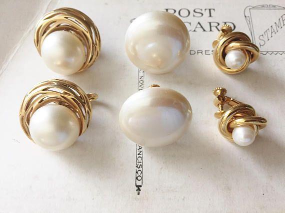Crown Trifari Marvella Napier Carolee Pearl Earrings