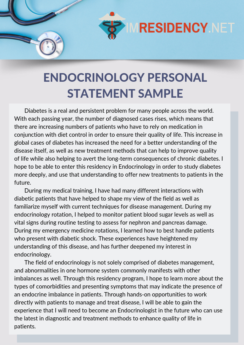 Endocrinology Personal Statement Sample Personal Statement Examples Personal Statement Internal Medicine