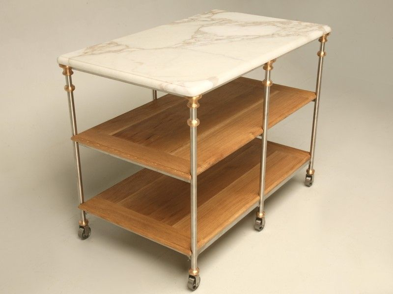 Stainless Steel And Bronze Kitchen Island With Calcatta Marble Top