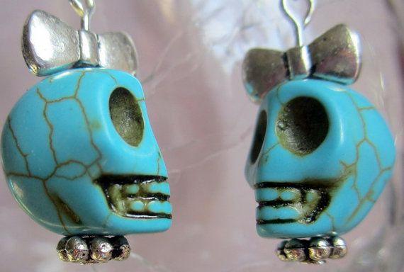 Teal skull chain earrings