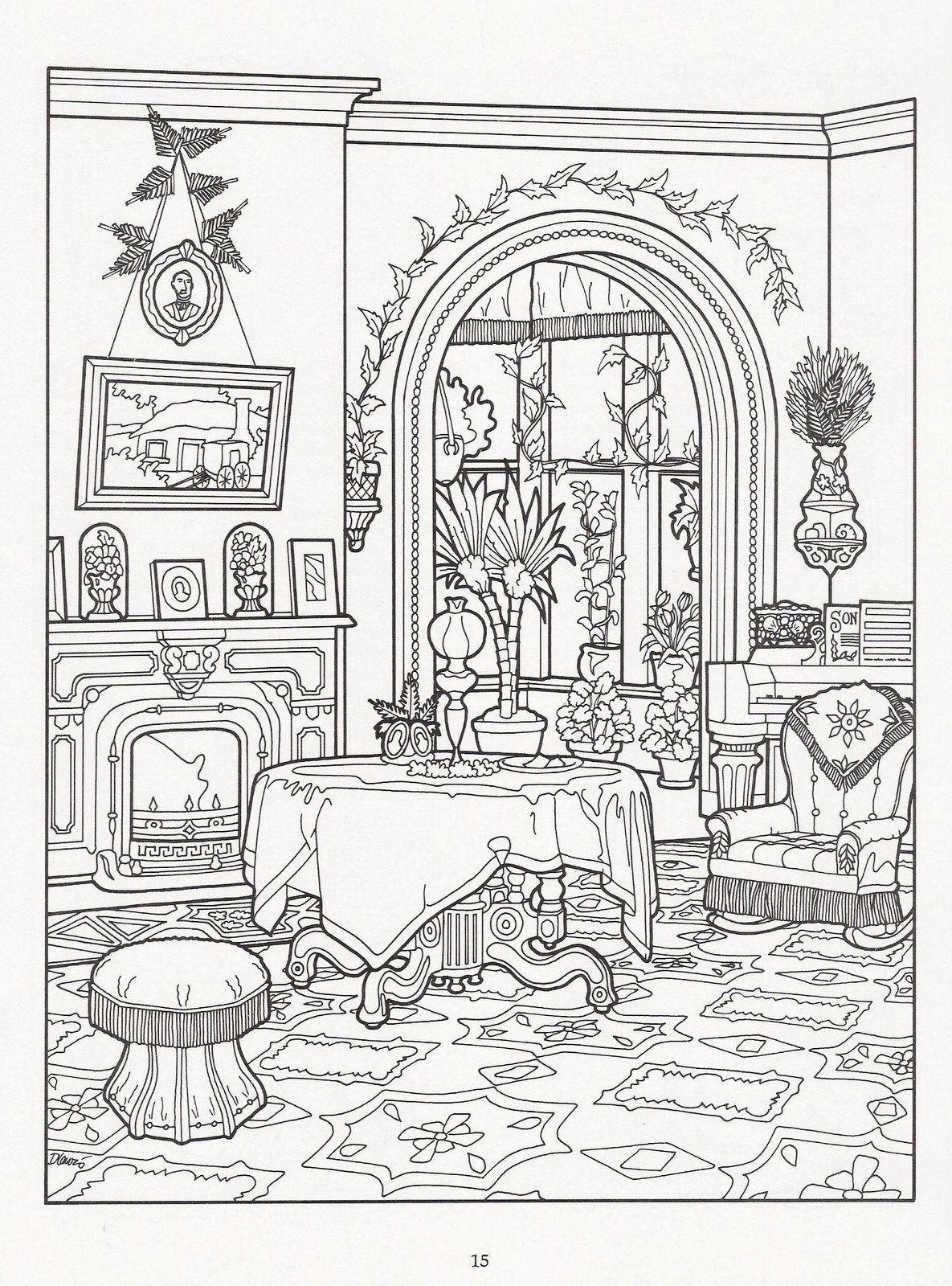 Victorian room house colouring pages adult coloring book pages coloring pages for grown ups
