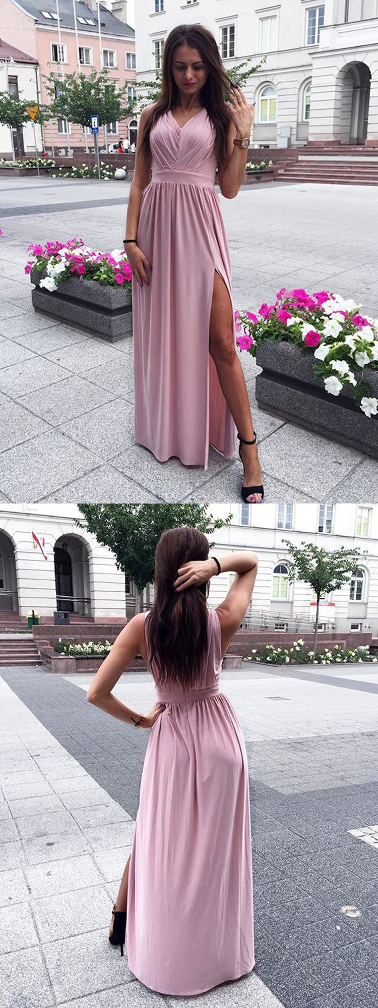 Charming sheath v neck open back chiffon pink slit long prom dresses
