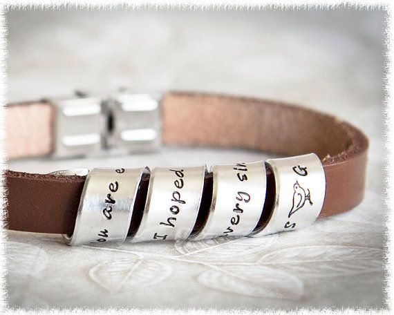 Leather bracelet men's custom leather bracelet quote jewelry