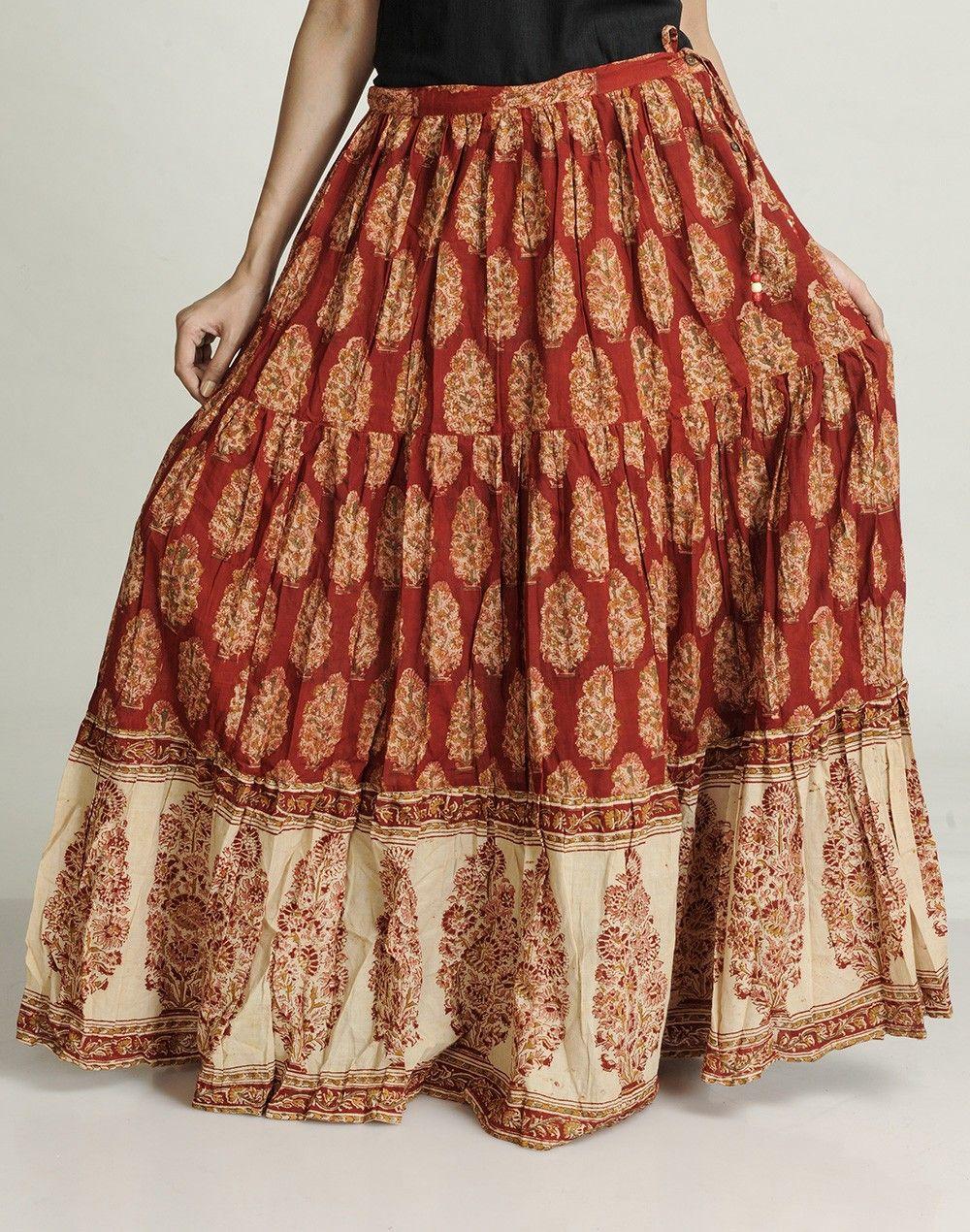 9ac46b999 Fabindia.com | Cotton Mull Kalamkari Ghera Border Long Skirt | style ...