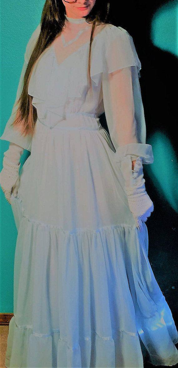 70's PrairieBOHO hippywedding  flowing maxi dress.