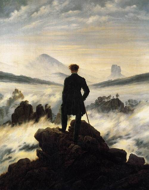 mudwerks: laura9: my-ear-trumpet: f——yeaharthistoire:          FRIEDRICH, Caspar David The Wanderer above the Mists 1817-18Romanticism Oil on canvas 94,8 x 74,8cm Kunsthalle, Hamburg  45.CASPAR DAVID FRIEDRICH (1774-1840) – Leading figure  of German Romantic painting, Friedrich is still identified as the  painter of landscapes of loneliness and distress, with human figures  facing the terrible magnificence of nature