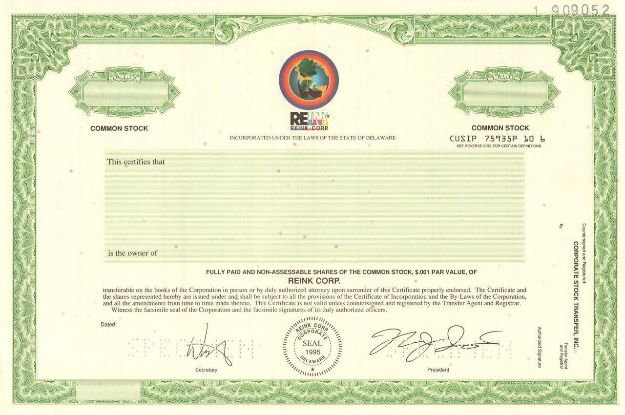 Reink Inc Specimen Circa 1999 Ink Refills Ink Refill Thermal Printer Stock Certificates