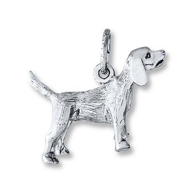 Beagle Charm Sterling Silver Silver Sterling Silver Beagle