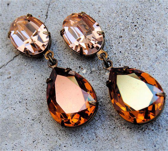 81d172f03cf5 Topaz Mandarin Orange Light Peach Earrings Vintage Swarovski Tear ...