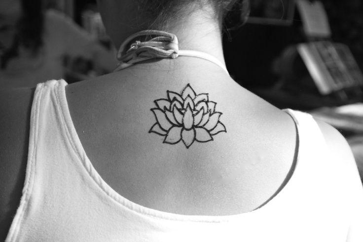 27111657f24d6 Black Outline Henna Lotus Flower Tattoo On Girl Upper Back   Henna ...