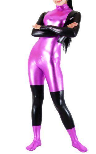 Half serious Half joke want this. Blacksunnyday Shiny Metallic Lycra Purple Black  Catsuit (. 028fd2e4f
