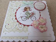 Sylvia Zet Handmade Birthday Card - Girl on Bike by SCT Designs